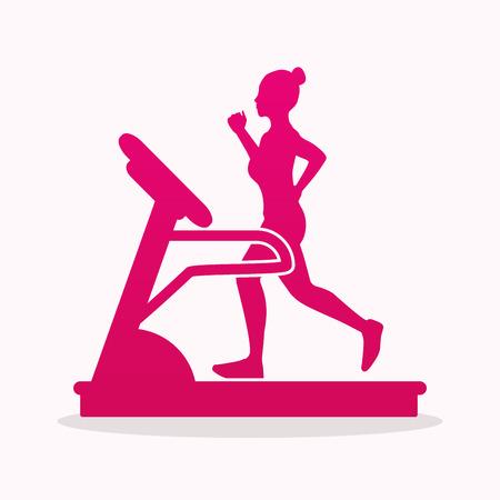belt up: Woman running on a treadmill graphic vector