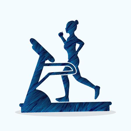 Woman running on a treadmill designed using blue grunge brush graphic vector Illustration