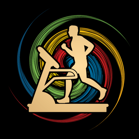 wheel spin: Man running on a treadmill designed on spin wheel background graphic vector