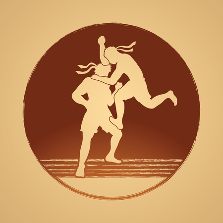 thai boxing: Muay Thai, Thai Boxing, action graphic vector Illustration