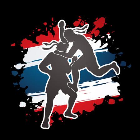 Muay Thai, Thai Boxing, actie ontworpen op grunge Flag Thailand grafische achtergrond vector Stock Illustratie