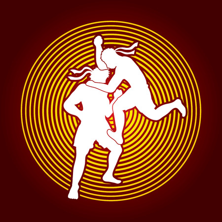 thai boxing: Muay Thai, Thai Boxing, action designed on line circle background graphic vector Illustration