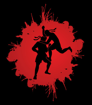 Muay Thai, Thai Boxing, action designed on splash blood background graphic vector