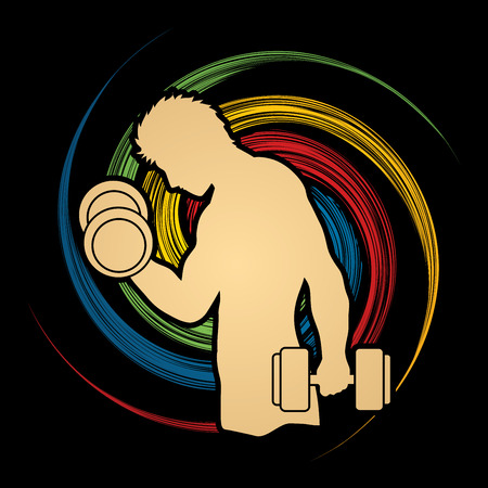 sportswear: Man exercises with dumbbell designed on spin wheel background graphic vector