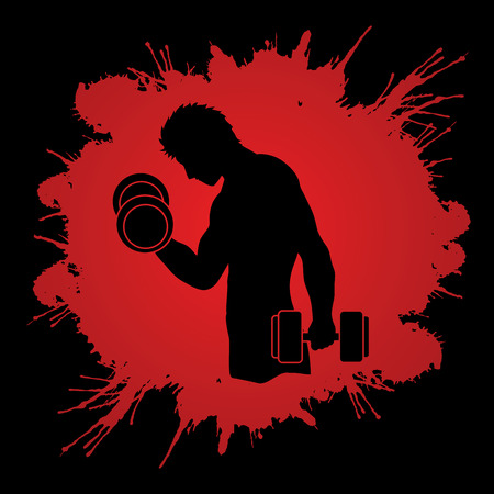 screen printing: Man exercises with dumbbell designed on splash blood background graphic vector Illustration