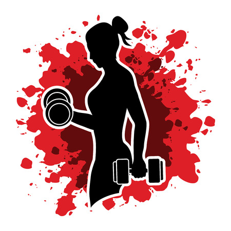 Woman exercises with dumbbell designed on splash ink background graphic vector 向量圖像