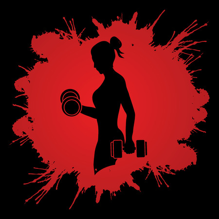 Woman exercises with dumbbell designed on splash blood background graphic vector Vettoriali