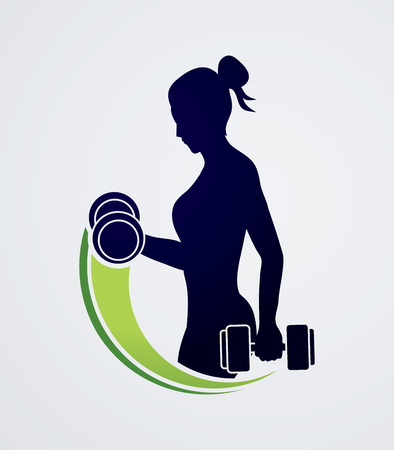 grease: Woman exercises with dumbbell graphic vector
