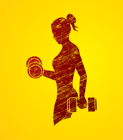 Woman exercises with dumbbell designed using grunge brush graphic vector