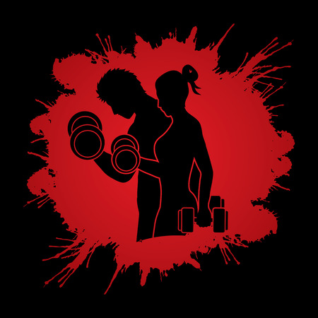 Man and Woman exercises with dumbbell designed on splash blood background graphic vector