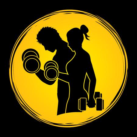 ejercicios del hombre y de la mujer con mancuernas diseñadas luz de la luna en el fondo del gráfico de vector Ilustración de vector