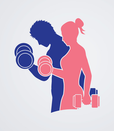Man and Woman exercises with dumbbell  graphic vector