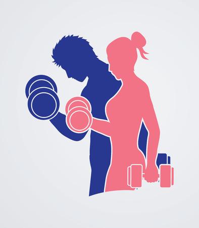Mężczyzna i kobieta ćwiczenia z hantlami grafiki wektorowej