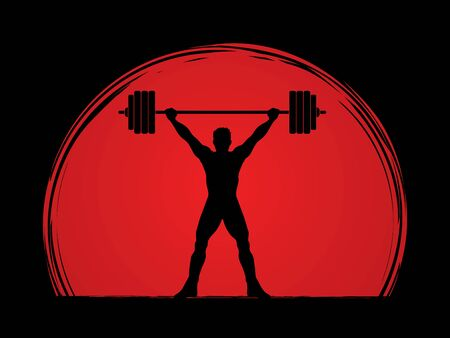 exercising: Weight Lifting silhouette, designed on sunset background graphic vector. Illustration
