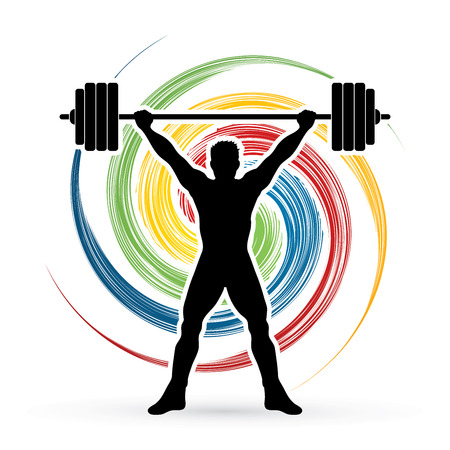 spin: Weight Lifting silhouette, designed on spin wheel background graphic vector.