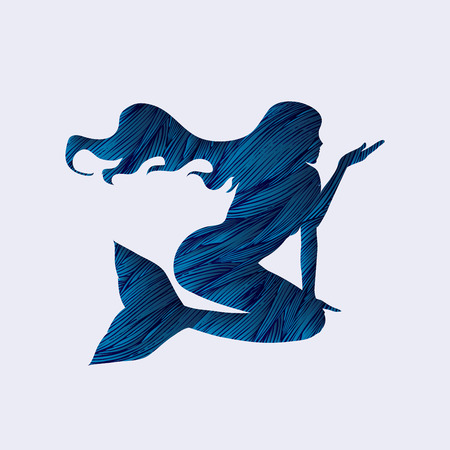 naked woman sitting: Mermaid designed using blue grunge brush graphic vector. Illustration