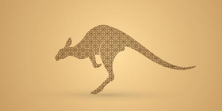 sac: Kangaroo jumping designed using geometric pattern graphic vector. Illustration