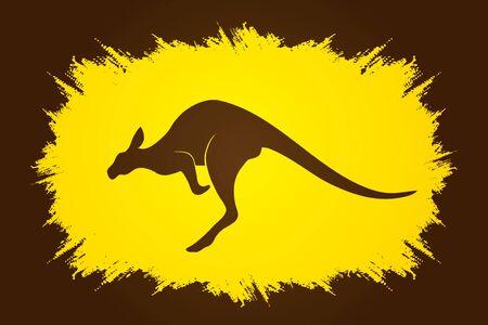 sac: Kangaroo jumping designed on grunge frame background graphic vector. Illustration