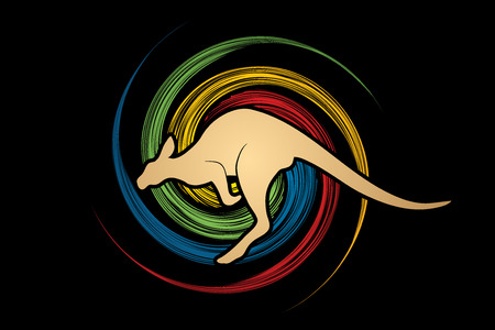 spin: Kangaroo jumping designed on spin wheel background graphic vector.