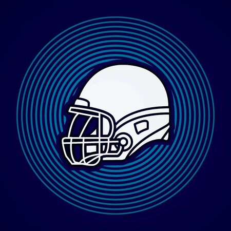 american football helmet: American football Helmet side view designed on line circle background graphic vector.