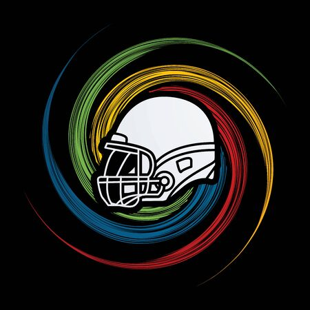 wheel spin: American football Helmet side view designed on grunge spin wheel background graphic vector. Illustration