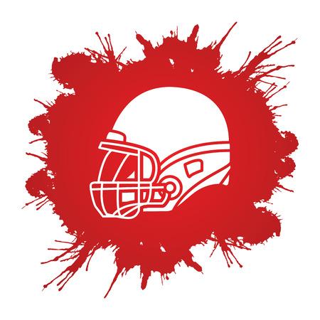 american football helmet: American football Helmet side view designed on grunge blood background graphic vector. Illustration