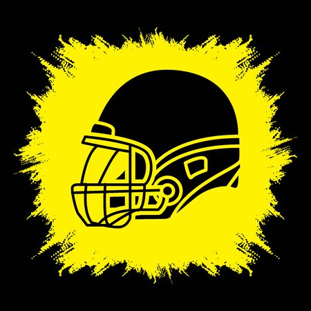american football helmet: American football Helmet side view designed on grunge frame background graphic vector.