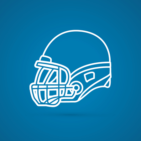 american football helmet: American football Helmet side view outline graphic vector. Illustration