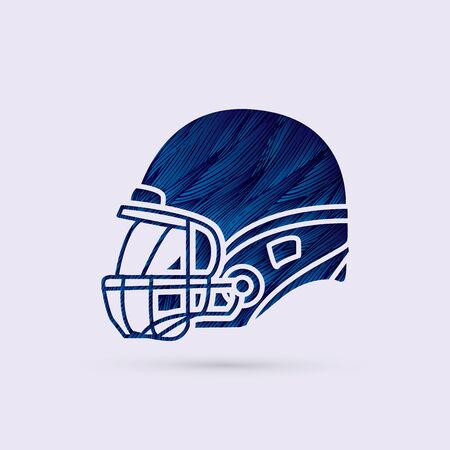 crouches: American football Helmet side view designed using blue grunge brush graphic vector.
