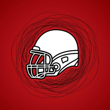 confuse: American football Helmet side view designed on confuse line background graphic vector.