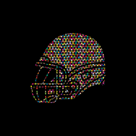 crouches: American football Helmet side view designed using mosaic pattern graphic vector.