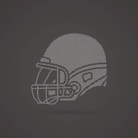 crouches: American football Helmet side view designed using dots pattern graphic vector.