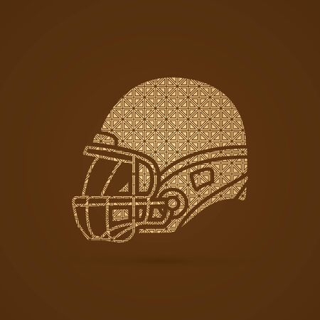 crouches: American football Helmet side view designed using luxury pattern graphic vector. Illustration