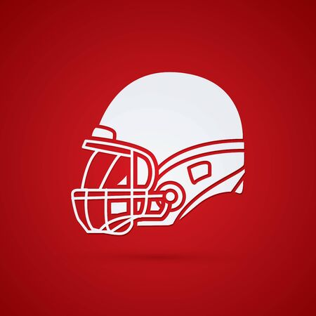 crouches: American football Helmet side view graphic vector.