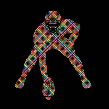 masculinity: American football player posing designed using colorful pixels graphic vector Illustration
