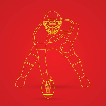 ready logos: American football player posing outline graphic vector