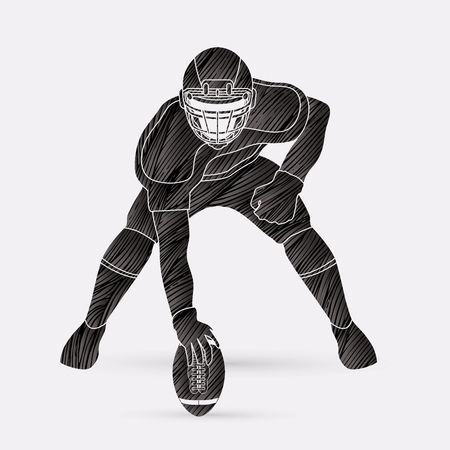 crouches: American football player posing designed using black grunge brush graphic vector