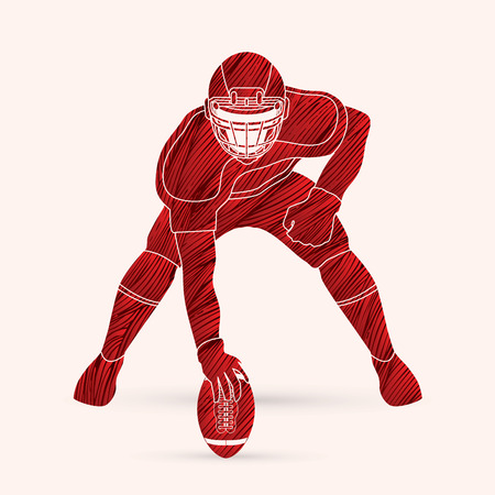 crouches: American football player posing designed using red grunge brush graphic vector