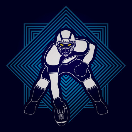 masculinity: American football player posing desined on line square backgrond graphic vector Illustration