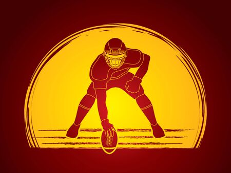 crouches: American football player posing desined on moonlight backgrond graphic vector Illustration