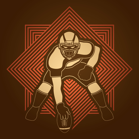 crouches: American football player posing designed on line square background graphic vector