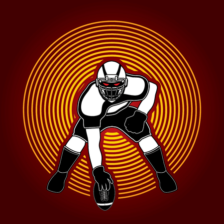 screen printing: American football player posing designed on circle light background graphic vector Illustration