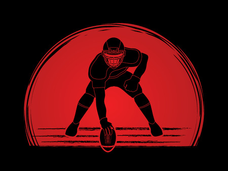 crouches: American football player posing designed on sunset backgrond graphic vector Illustration