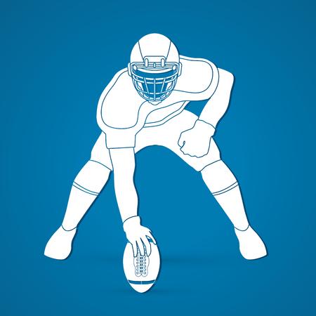 ready logos: American football player posing graphic vector