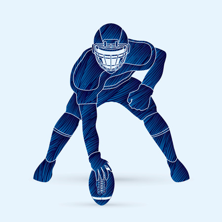 masculinity: American football player posing designed using blue grunge brush graphic vector Illustration