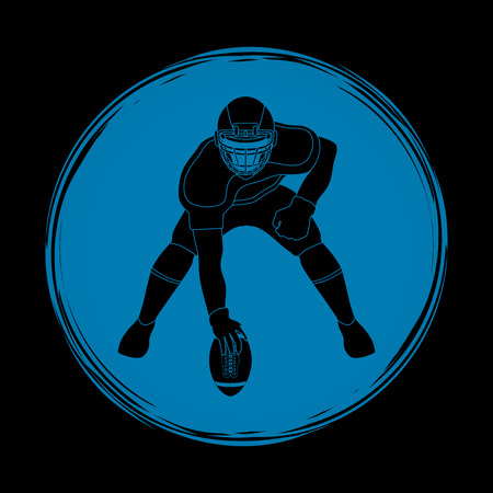 crouches: American football player posing designed on grunge circle background graphic vector Illustration