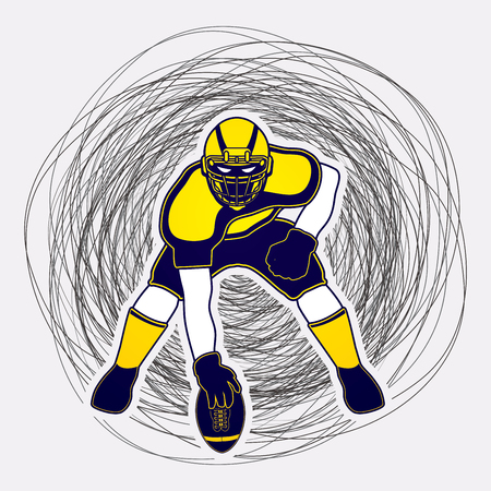 crouches: American football player posing designed on line confuse background graphic vector Illustration