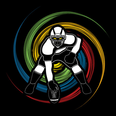 masculinity: American football player posing designed on spin wheel background graphic vector Illustration