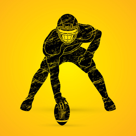 masculinity: American football player posing designed using grunge brush graphic vector