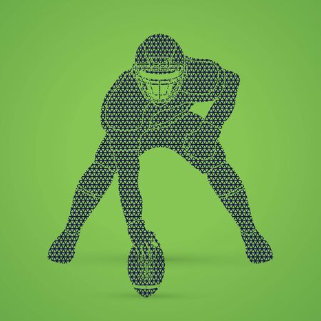 crouches: American football player posing designed using geometric pattern graphic vector Illustration